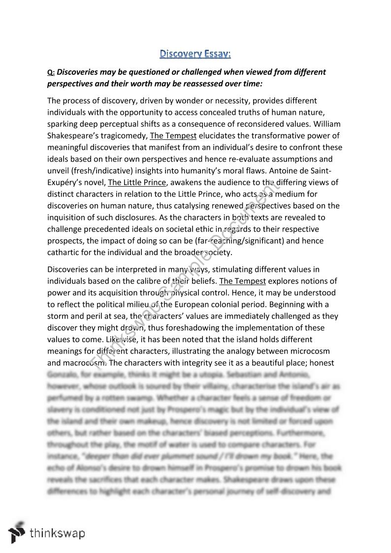 English Advanced Discovery Essay On The Tempest And The Related  English Advanced Discovery Essay On The Tempest And The Related Text  The Little Prince Thesis Statement In Essay also Essays Examples English  Hiv Essay Paper