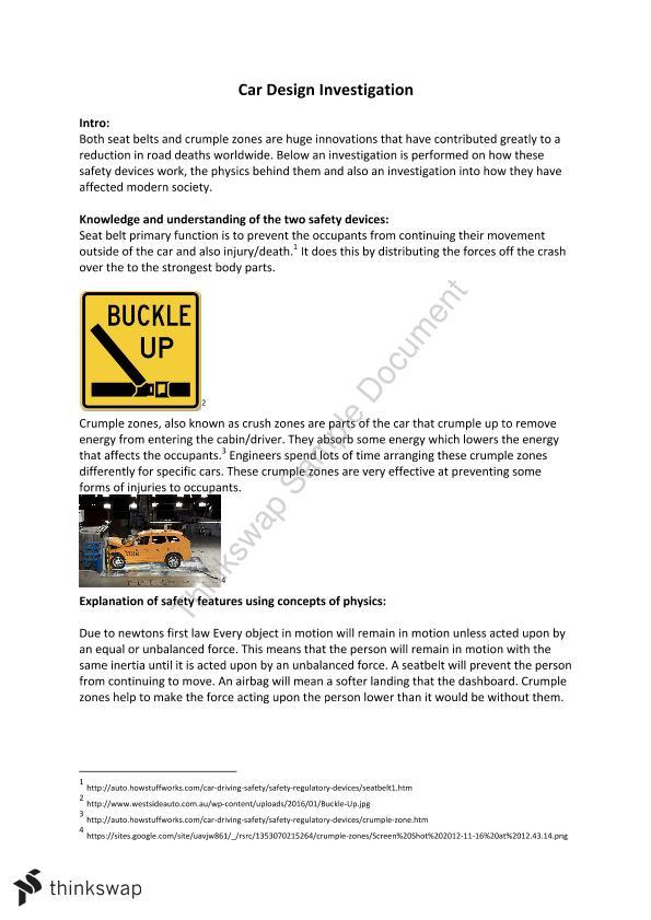 Physics Car Design Year 11 Sace Physics Thinkswap