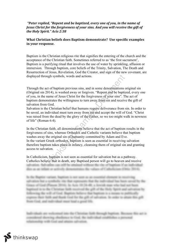 Sor Essay On Christian Baptism Year 12 Hsc Studies Of Religion I