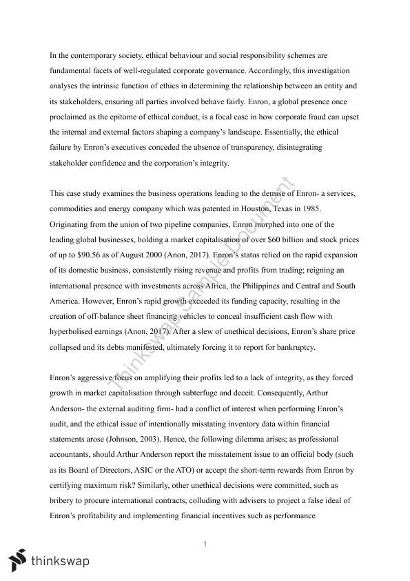 enron case study report essay 1 Running head: enron case study 2 short paper: enron case study enron corporation, was a noteworthy us energy-trading and utilities company that went bankrupt on december 2, 2001, mainly due to the breaking out of its large money related and bookkeeping misrepresentation embarrassment.