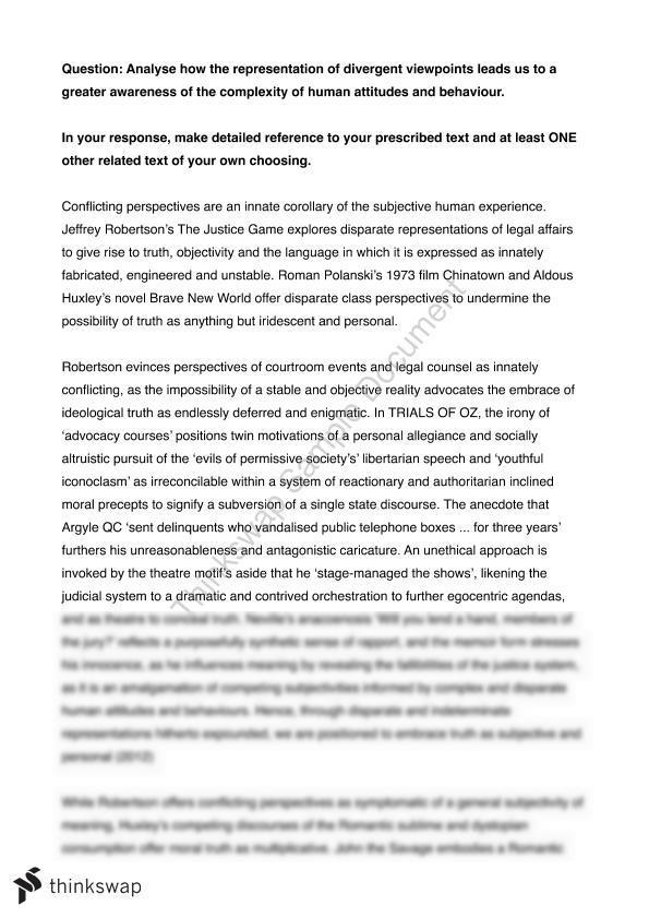 conflicting perspectives essay questions