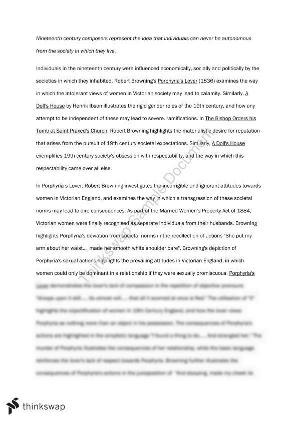 essays on porphyria What is the story the introduction is a brief outline of the story of the poem chosen by the examiner if the question is about a novel or long poem, the examiner will ask about a chapter or extract as well as telling the story of this extract, you should also locate its place in the overall story.