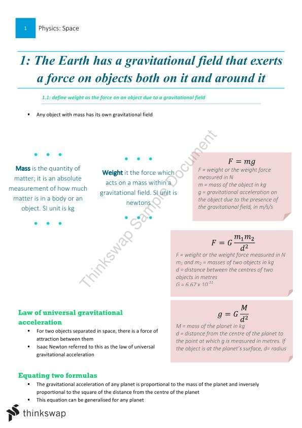 hsc physics notes space