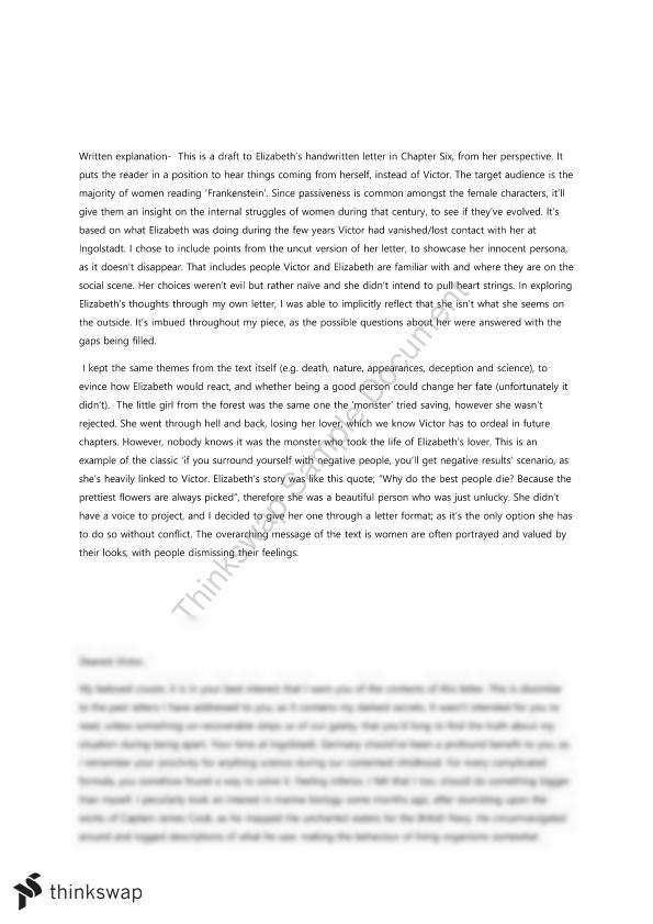 Frankenstein Essay  Year  Vce  English Foundation  Business Letter Essay Examples Writing Dbq Essay Frankenstein Essay  Year  Vce  English Foundation  Science Essay Questions also Science Essay
