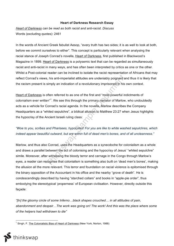 Heart Of Darkness Research Essay  Year  Wace  Literature  Thinkswap Heart Of Darkness Research Essay