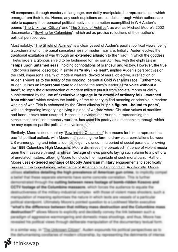 Shakespeare Romeo And Juliet Essay Auden Essay English Advance Essay Death also Example Of Essay Writing In English Auden Essay English Advance  Year  Hsc  English Advanced  Cause And Effect Sample Essay