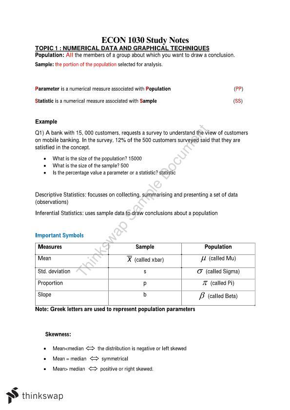 Econ1030 Study Notes Econ1030 Business Statistics 1 Thinkswap