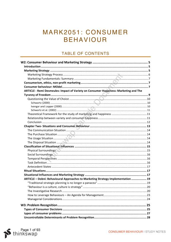 Full Course Notes for Consumer Behaviour  - Page 1