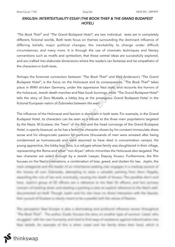 the book thief essay thesis Free essay: takara taylor july 18, 2009 ap literature essay the book thief haunted by symbols through all of the irony and vivid coloring, the book thief is.