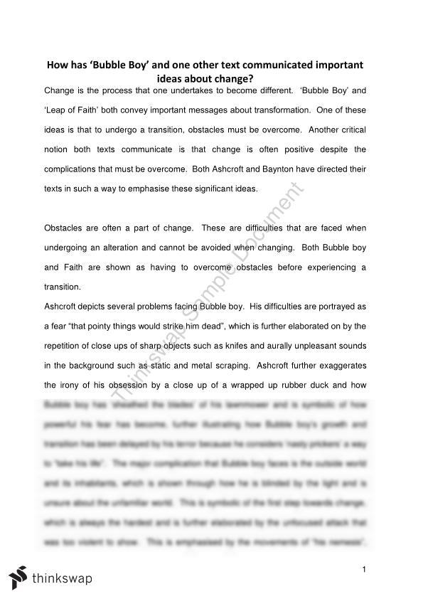 essay about the related texts bubble boy short film and leap  essay about the related texts bubble boy short film and leap