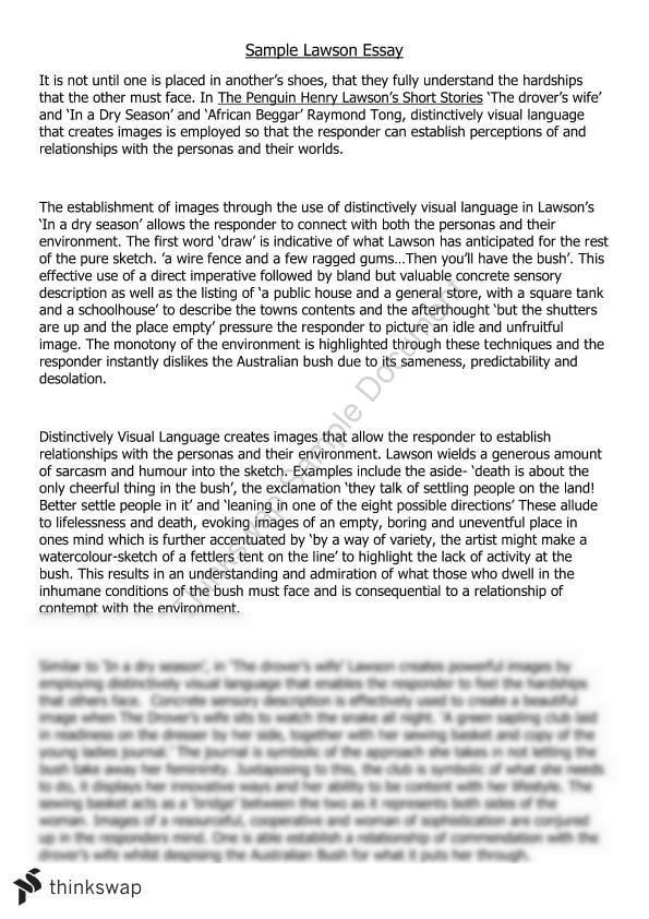 essay on distinctively visual henry lawson