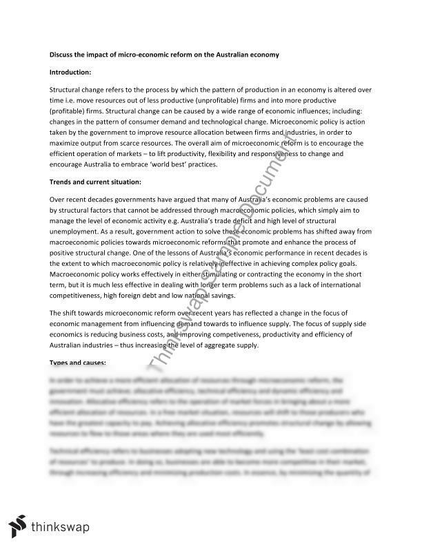 Economics Essay - Microeconomic Reform | Year 12 HSC - Economics ...