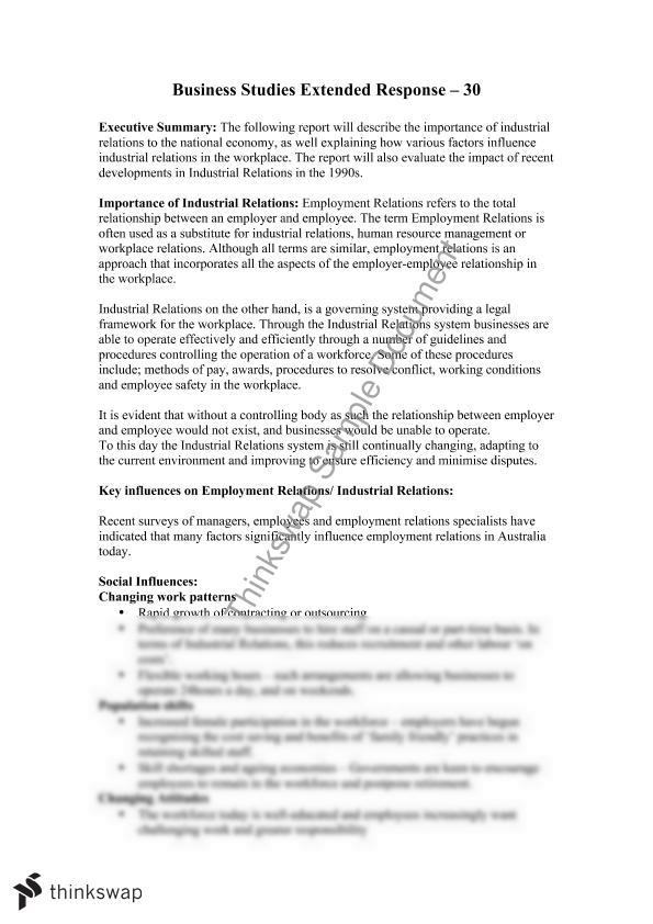Industrial Relations Essay Yearhsc Business Studies Industrial Relations  Essay