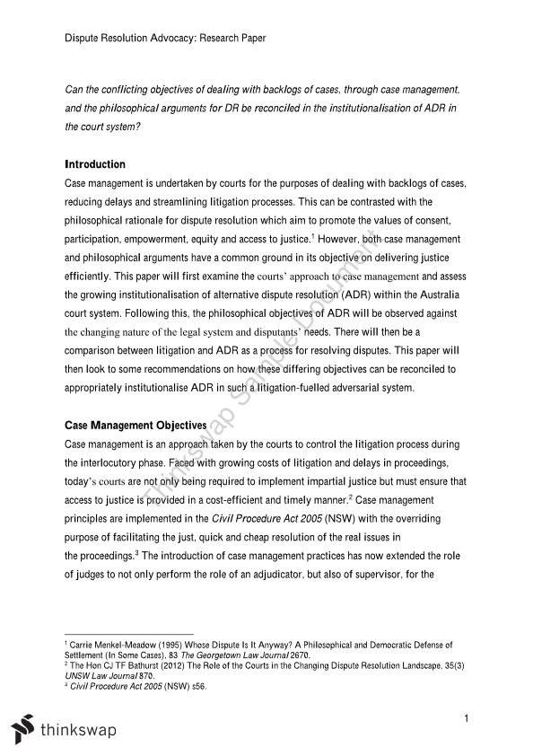 dispute resolution advocacy research paper  case