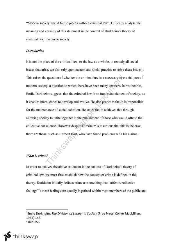 Durkheim and law essays