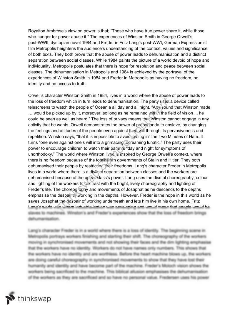 metropolis essay year hsc english advanced thinkswap metropolis 1984 essay