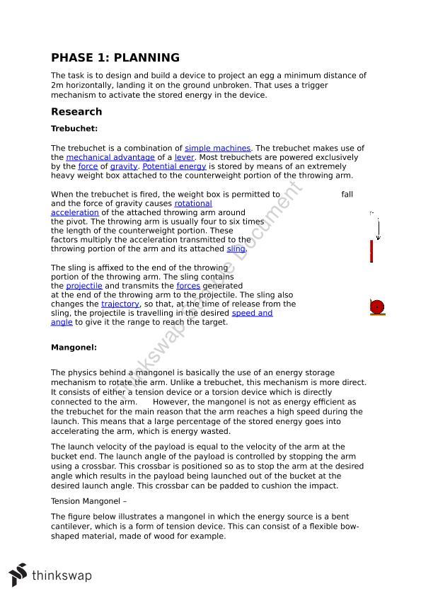 Physics Catapult Report   Year 12 WACE - Physics   Thinkswap