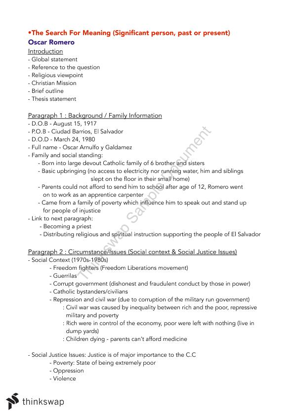 Religion Ab Essay Plans  Year  Wace  Religion And Life  Thinkswap Religion Ab Essay Plans Secondary School English Essay also Argumentative Essay Thesis Example  Compare And Contrast Essay Sample Paper