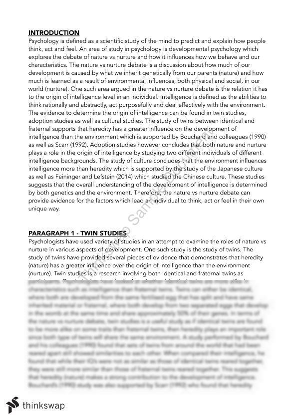 twin studies nature vs nurture essay