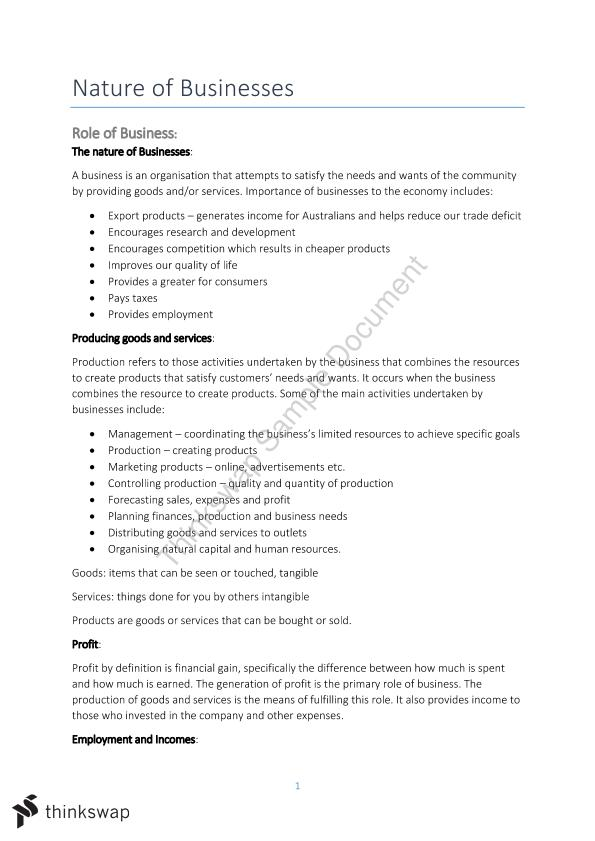 Nature of Business Study Notes | Year 11 HSC - Business