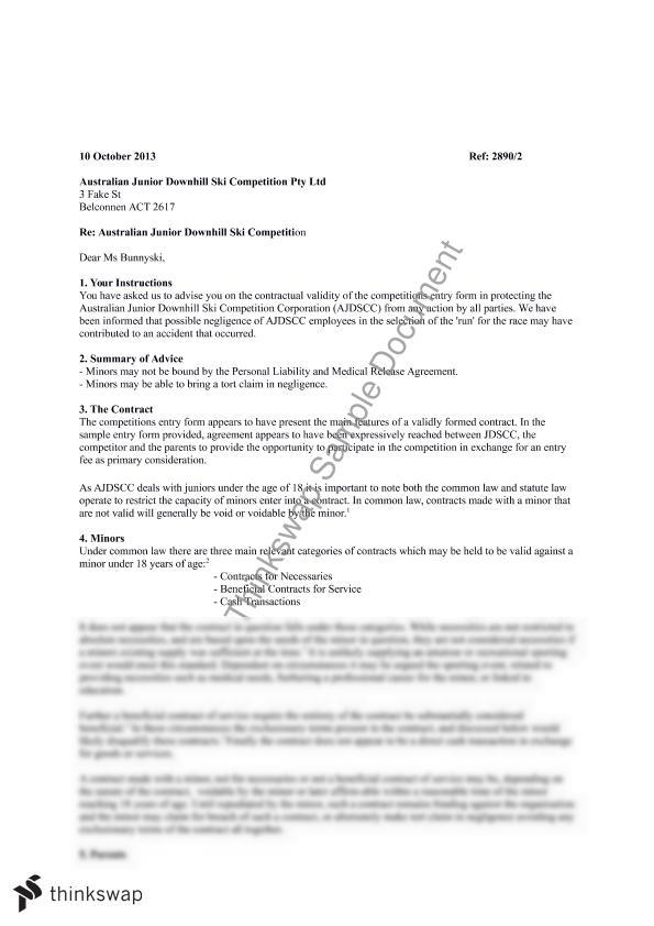 Letter Of Advice    Contract Law  Thinkswap