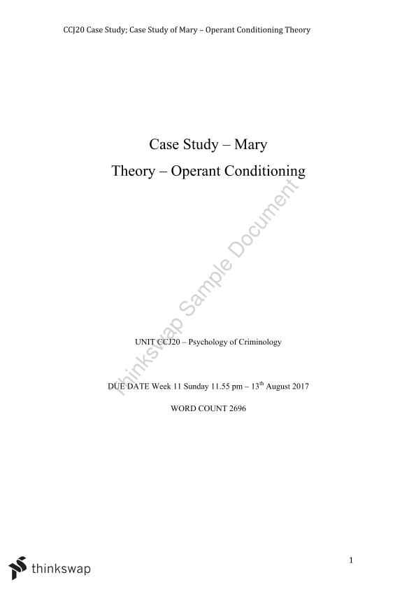 Case Study of Mary - Operant Conditioning