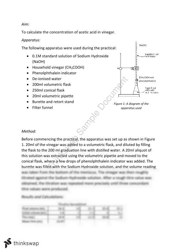 Titration Practical Report: Acid-Base   Year 11 SACE - Chemistry