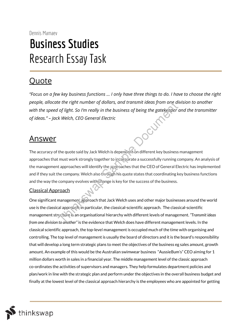 Thesis Example Essay  High School Essays Topics also Proposal Essay Topic List Essays On Business Studies Columbia Business School Essay
