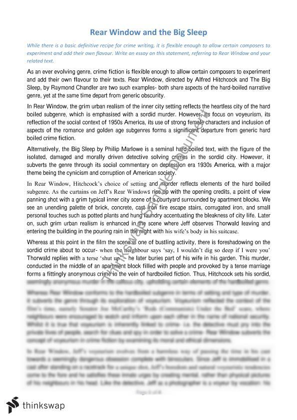 Crime Genre Essay; Rear Window and the Big Sleep | Year 12 HSC ...