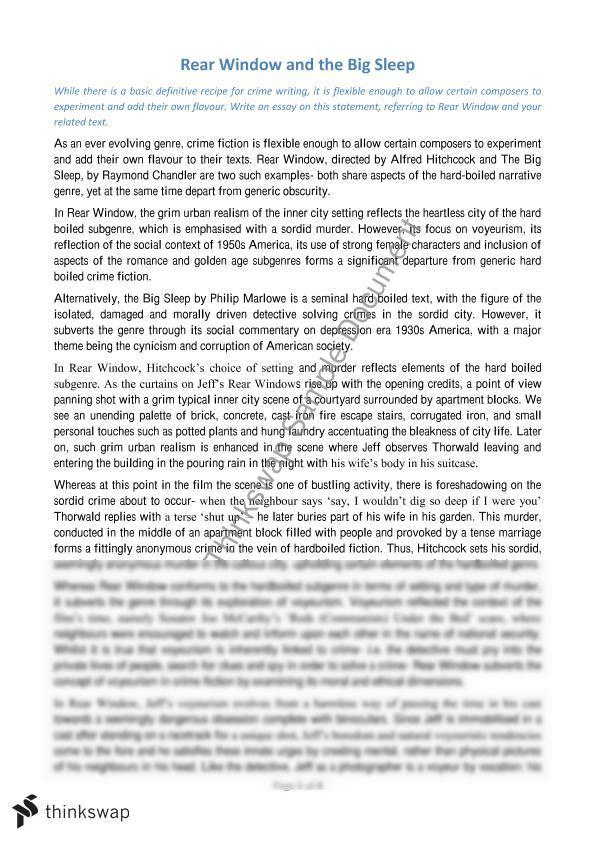 Crime Genre Essay Rear Window And The Big Sleep Year 12 Hsc