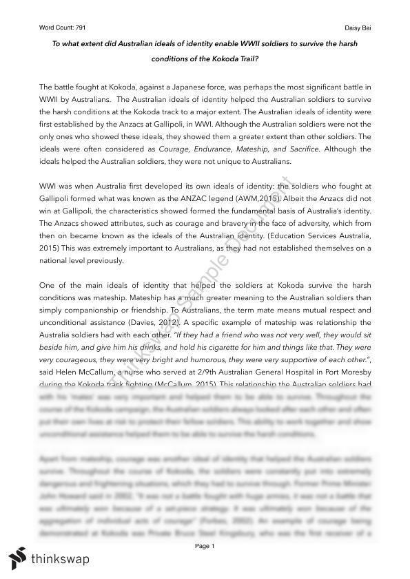 kokoda track ww2 essay