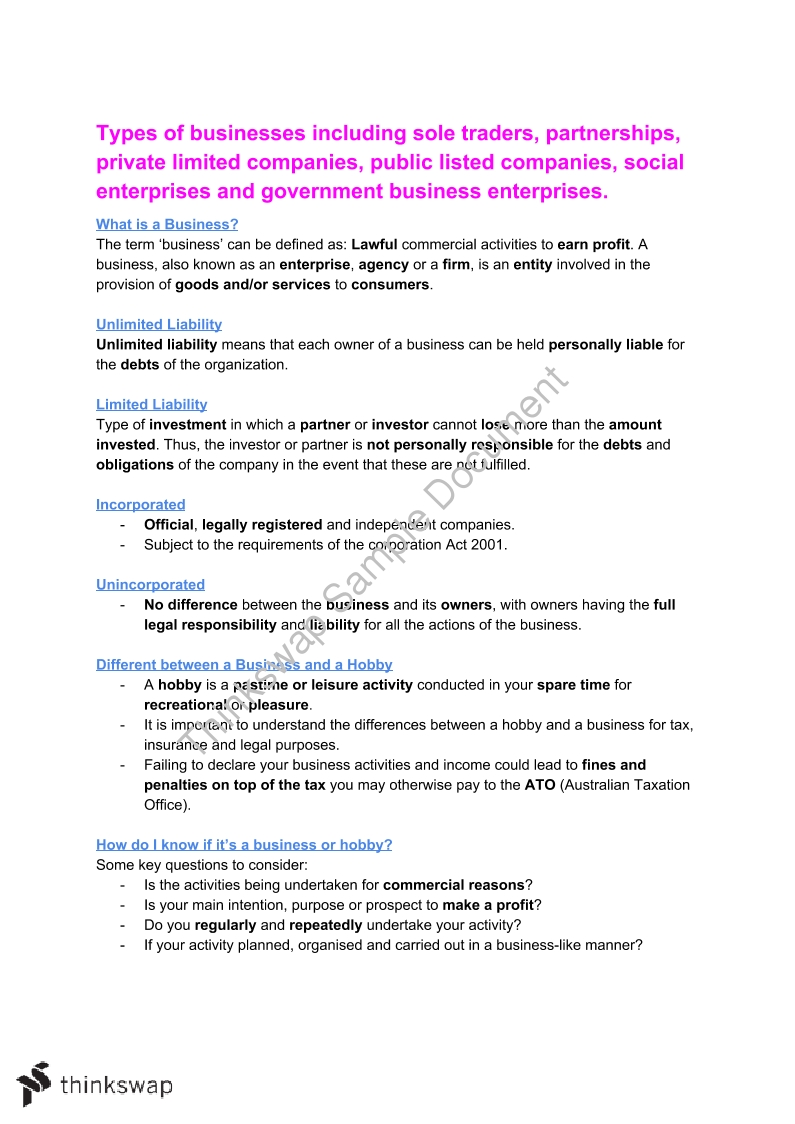 Business Unit 3 Area of Study 1   Year 12 VCE - Business