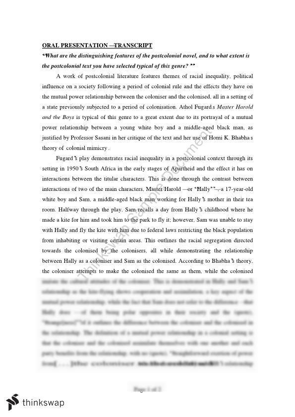 Postcolonial Essay -