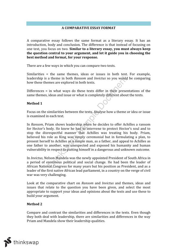 Structure Of Compare And Contrast Essay Essay Essay Thesis