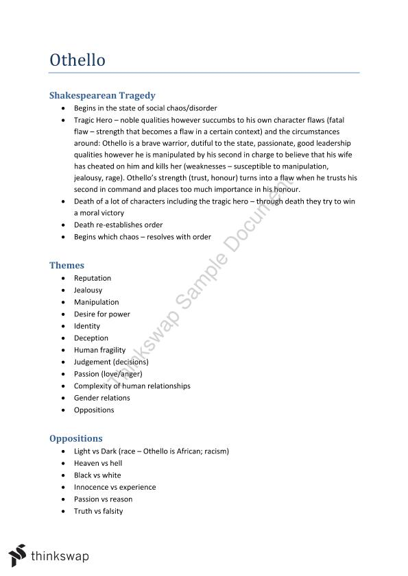 othello thematic analysis