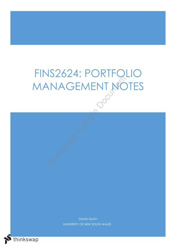 fins 2624 portfolio management notes Portfolio management fins2624 complete course notes  search portfolio management fins2624 complete course  summary notes for.
