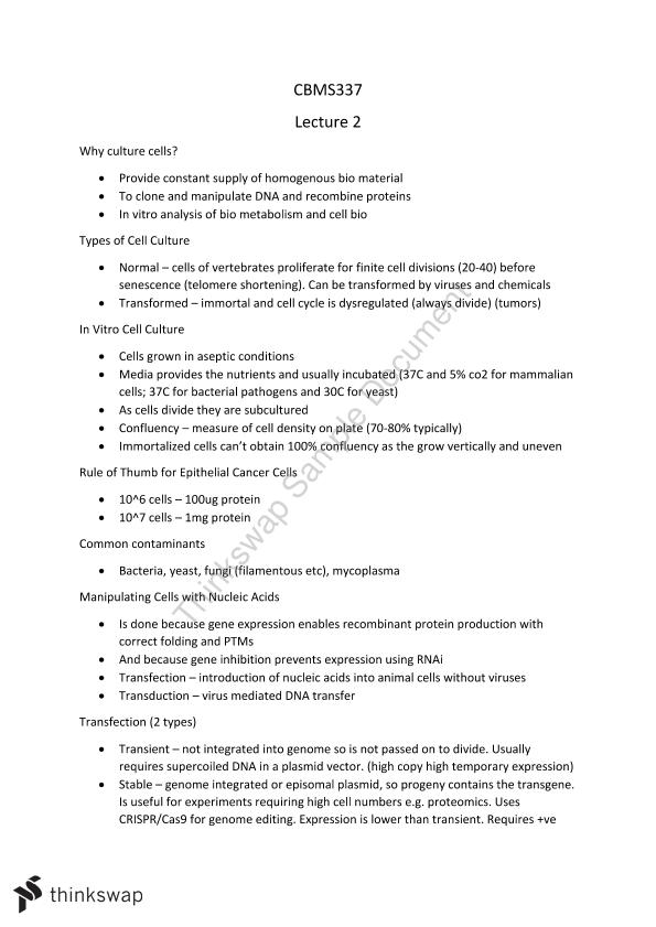 Biochemistry and Cell Biology Notes | CBMS337 - Biochemistry and