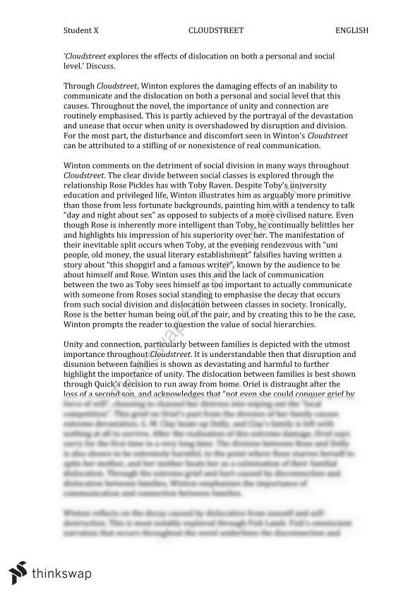 cloudstreet essay vce