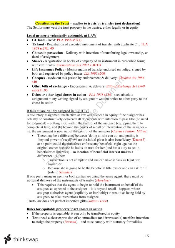 Trusts Concise Exam Notes  - Page 15