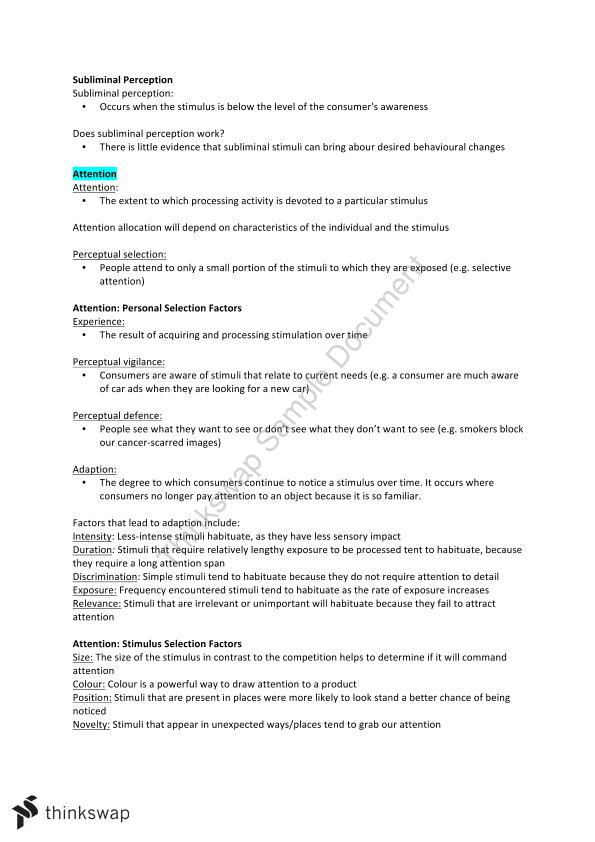 AMB200 Consumer Behaviour Full Exam Study Notes