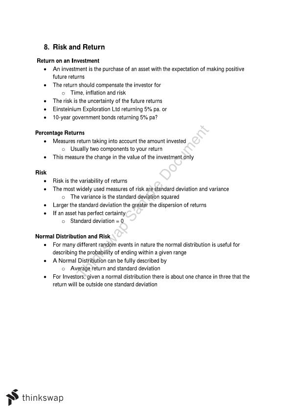 25300 Fundamentals of Business Finance Theory Notes
