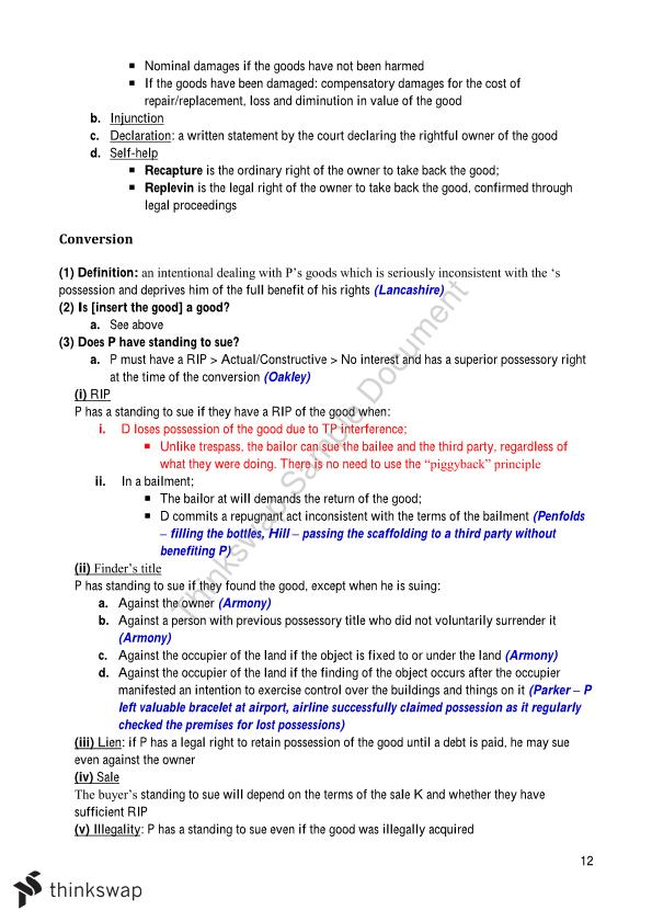 Torts A (LAW2201) Notes