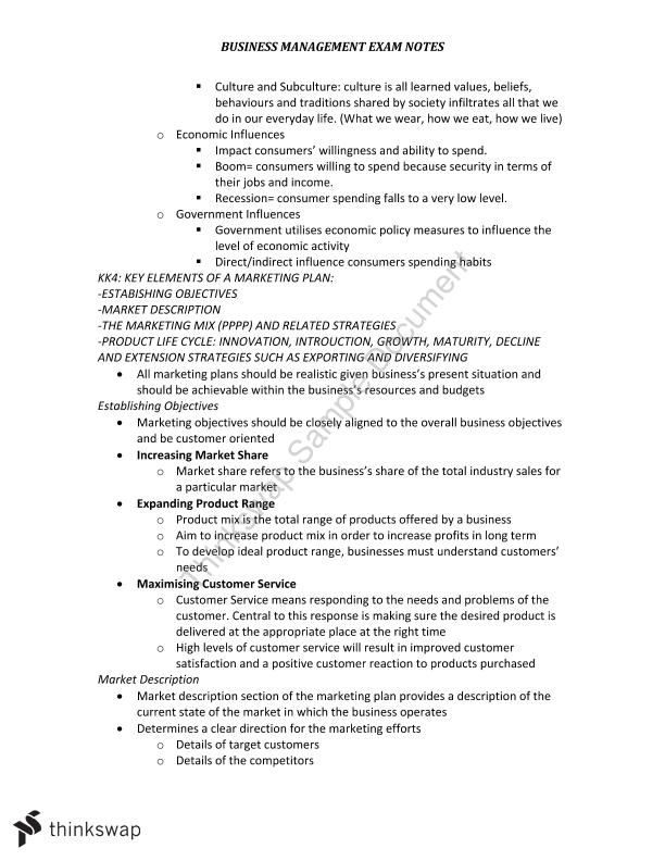 VCE Notes for Units 1 &2  Business Management