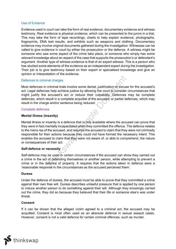 Crime Notes   Year 12 HSC - Legal Studies   Thinkswap