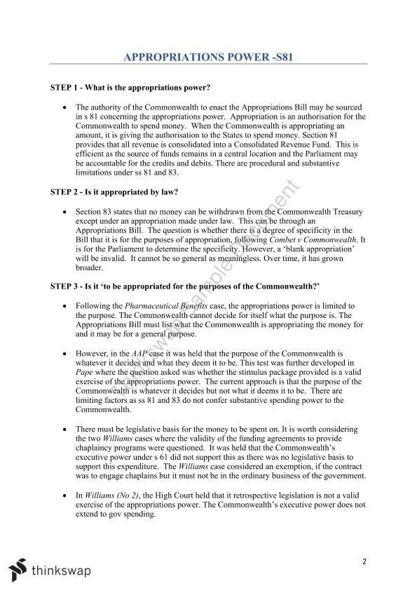 Complete Study Notes for Constitutional Law with Answer Plans