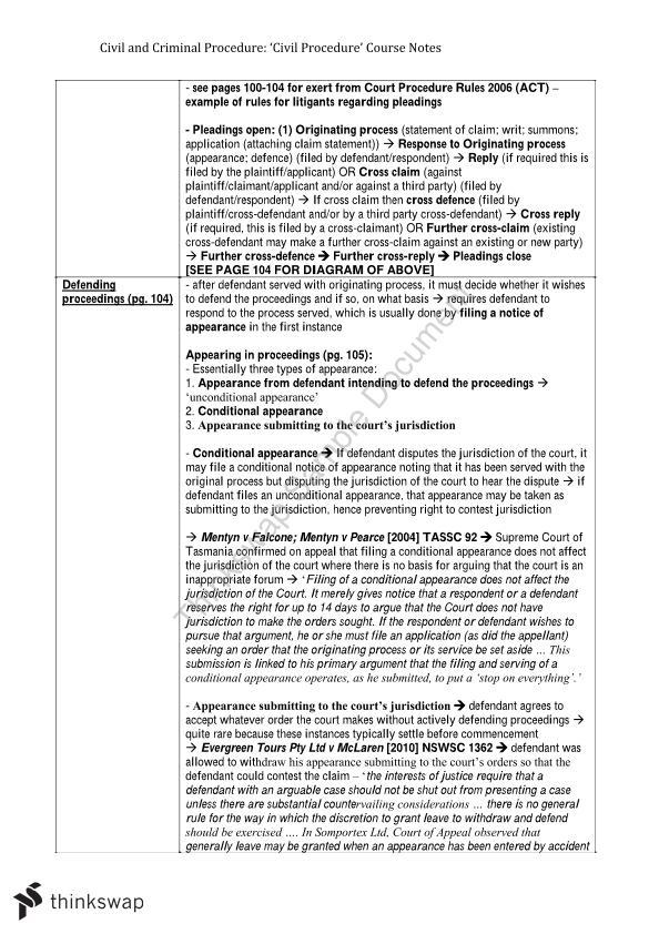 LAWS398: 'Civil Procedure' Notes   LAWS398 - Civil and
