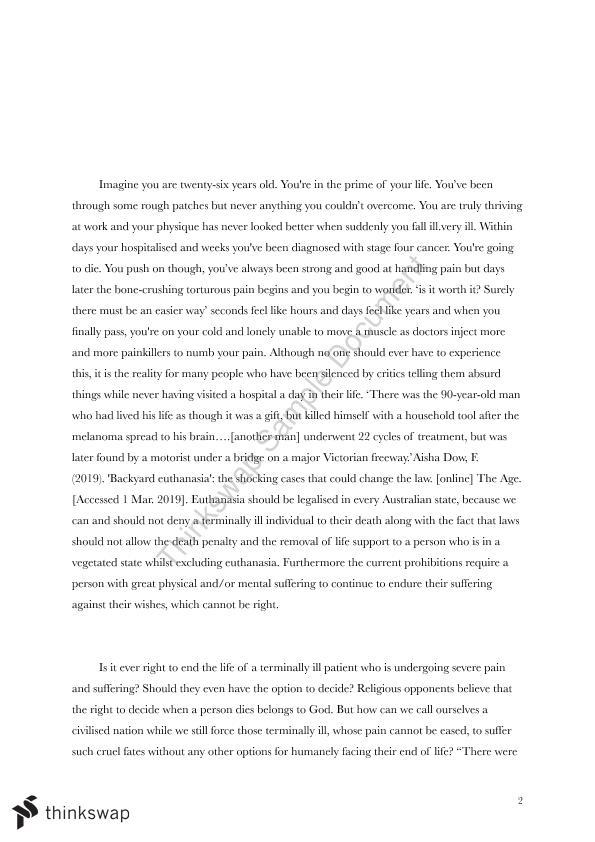 persuasive essays for euthanasia
