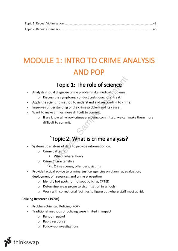 Crime, Analysis and Investigation Notes
