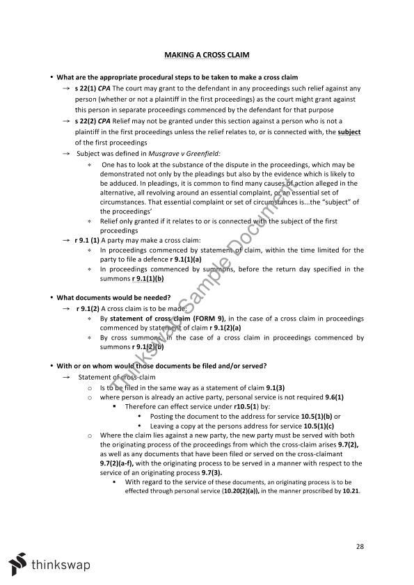 Civil Procedure Notes   LLB3300 - Remedies and Civil