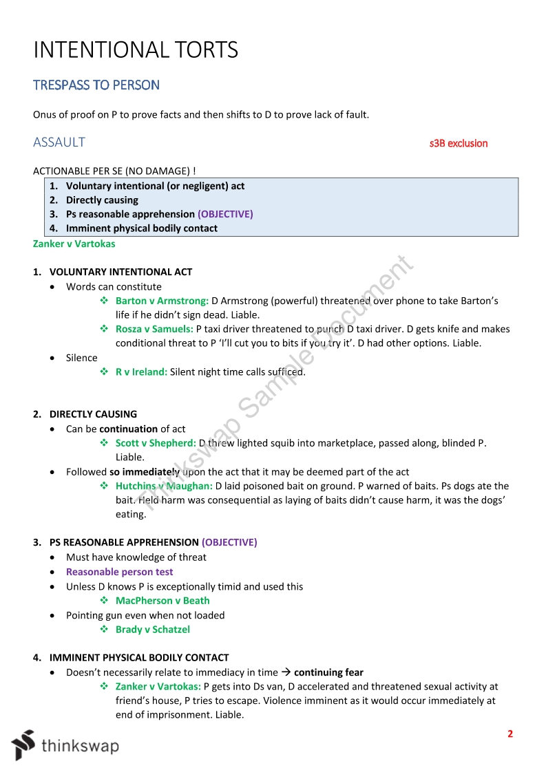 Torts Full Notes - Page 2